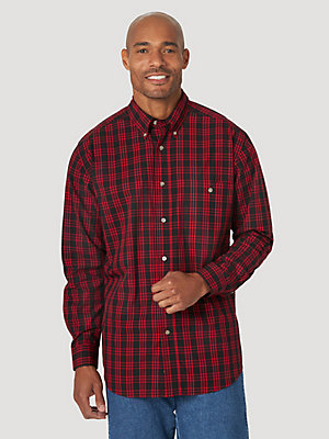 Wrangler Rugged Wear® Long Sleeve Wrinkle Resist Plaid Button-Down Shirt
