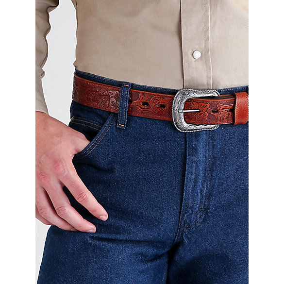 Men's Morning Glory Tooled Reversible Belt