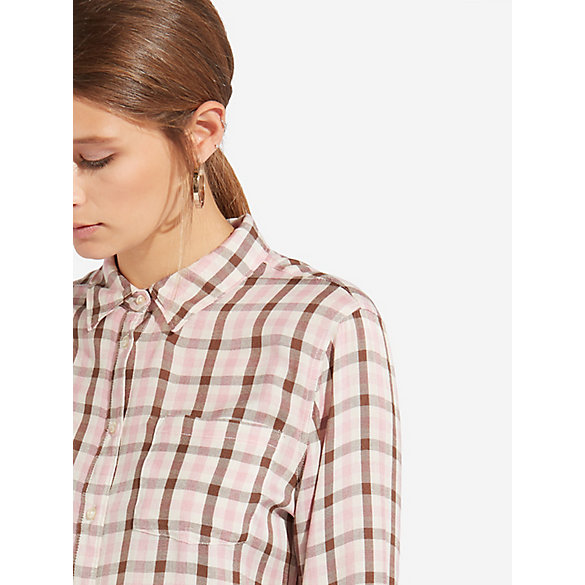 Women's 1 Pocket Button-Down Check Shirt