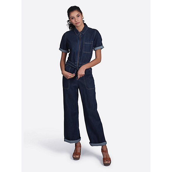 a35954146be Women s Short Sleeve Zip Front Denim Coverall