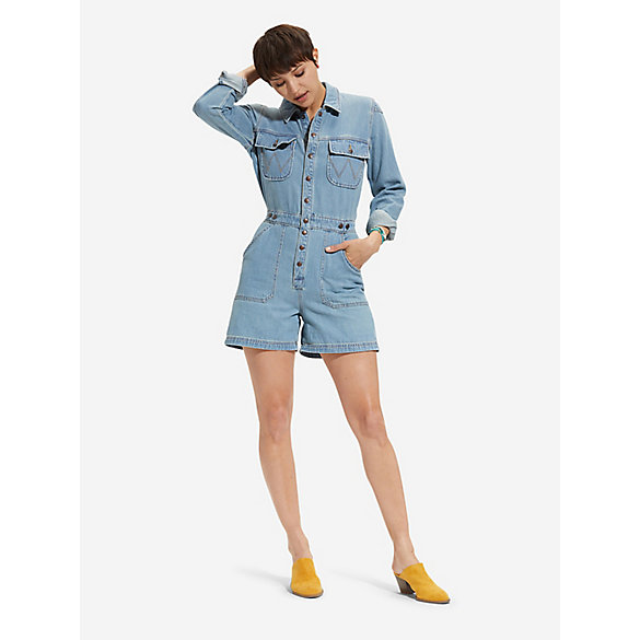 Women's Long Sleeve Denim Utility Playsuit