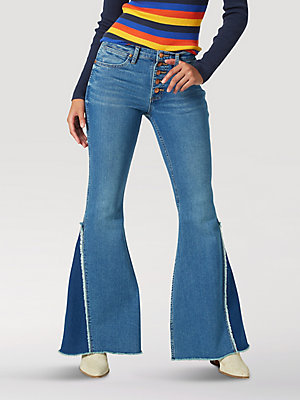 Women's High Rise Button Fly Paneled Flare Jean
