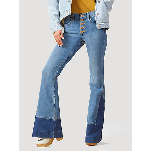 Women's High Rise Button Fly Inset Hem Flare Jean