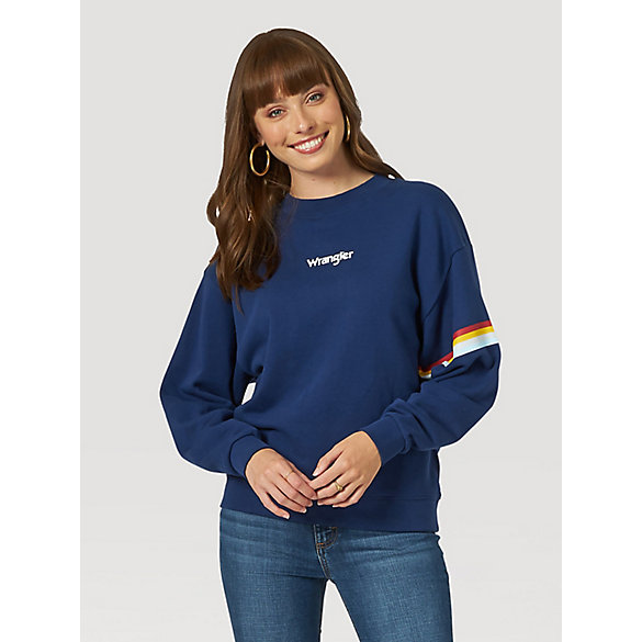Women's 80s Retro Rainbow Stripe Sweatshirt