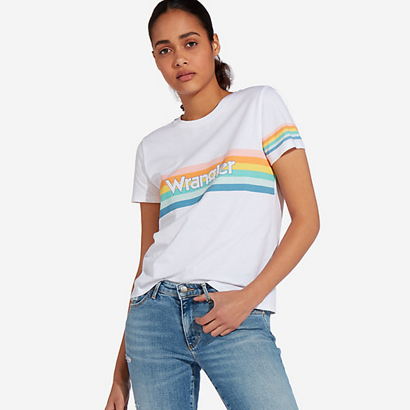 Women's Rainbow Stripe Logo T-Shirt
