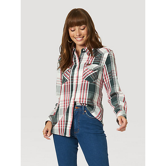 Women's Boyfriend Fit Western Snap Shirt