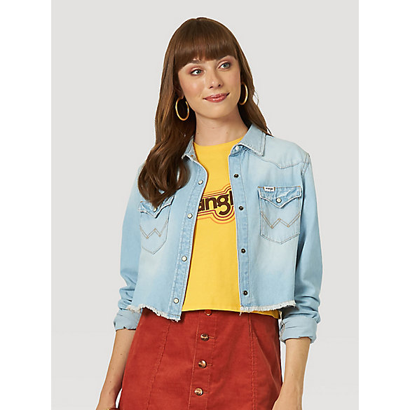 Women's Crop Denim Western Snap Shirt
