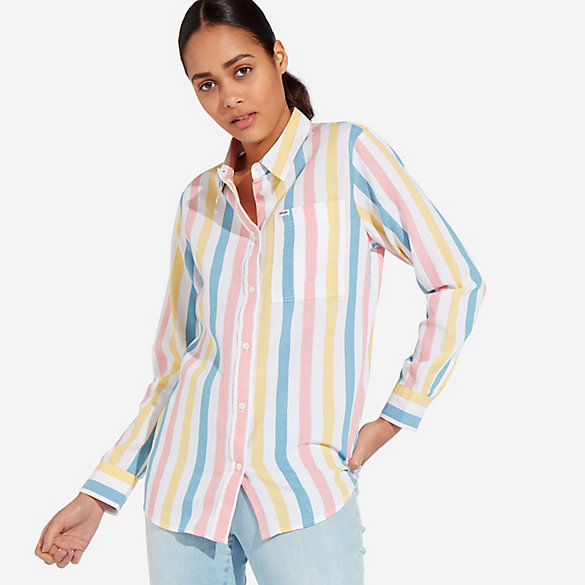 Women's Summer Stripe Button-Down Shirt