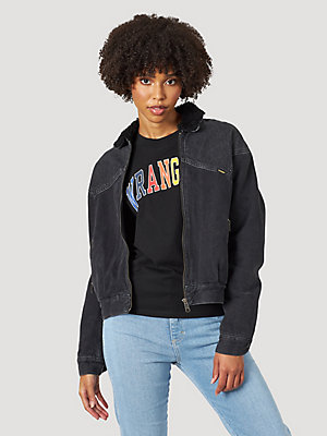 Women's '80s Zip Front Sherpa Collar Denim Jacket