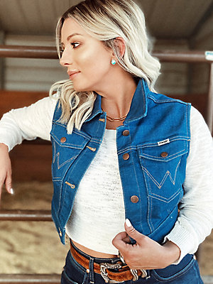 Women's Low-Dip Denim Crop Vest