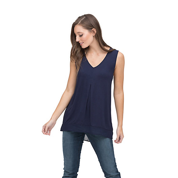 Women's Wrangler® Tank Top Solid with Chiffon Trim at Waist