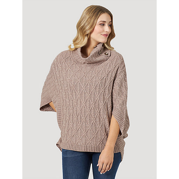 Women's Pullover Cowl Neck Knit Poncho