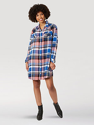 Women's Oversized Plaid Shirt Dress