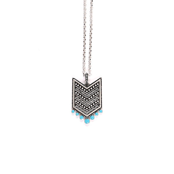 Silver and Turquoise Chevron Necklace
