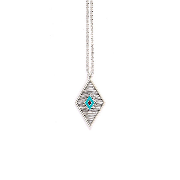 Silver and Turquoise Aztec Necklace