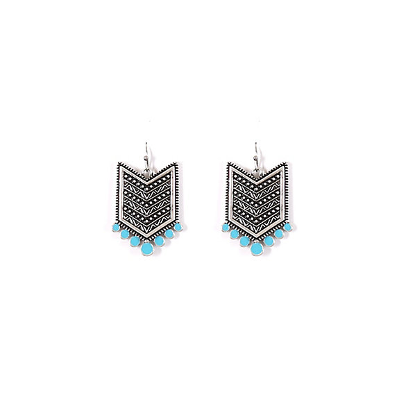 Silver and Turquoise Chevron Earrings