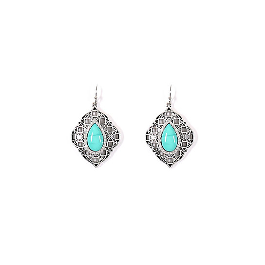 Antique Silver and Turquoise Earrings