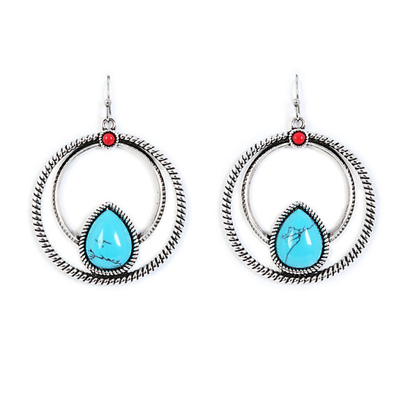 Turquoise and Jasper Circle Earrings