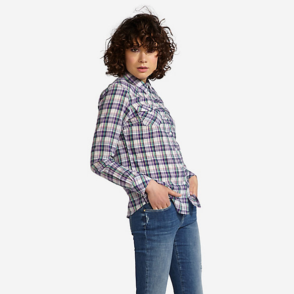 Women's Wrangler® Born Ready Long Sleeve Button Down Plaid Top