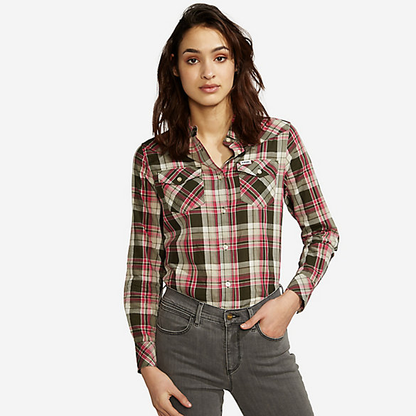 Women's Wrangler® Born Ready Long Sleeve Button Down Western Yokes Plaid Top