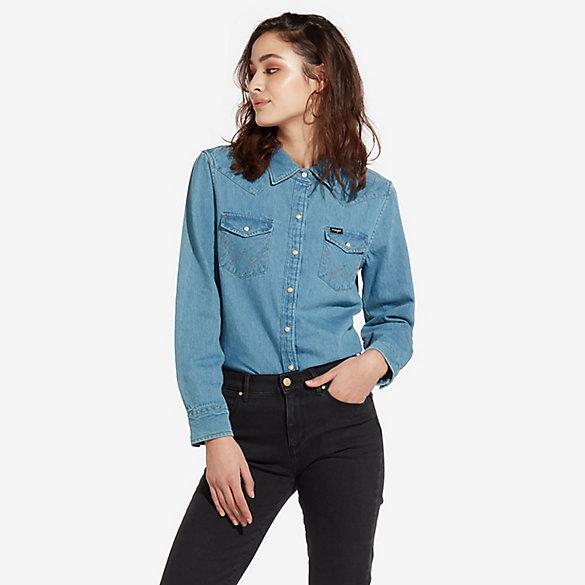 248aafe85f Women s Oversized Western Snap Denim Shirt