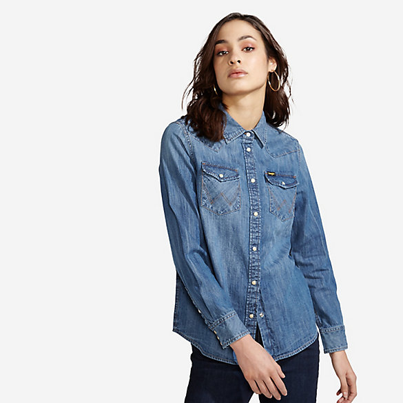 Women's Wrangler® Born Ready Western Snap Denim Shirt