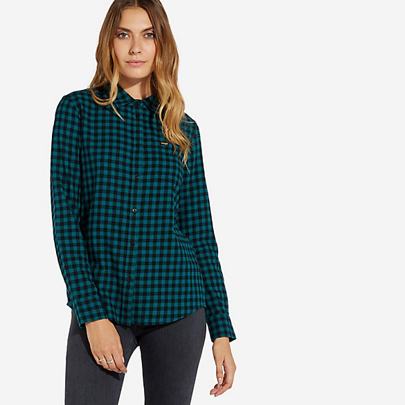 Women's Single Pocket Plaid Button-Down Shirt