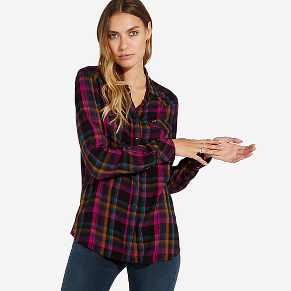 Women's Wrangler® Born Ready Western Button-Down Plaid Shirt